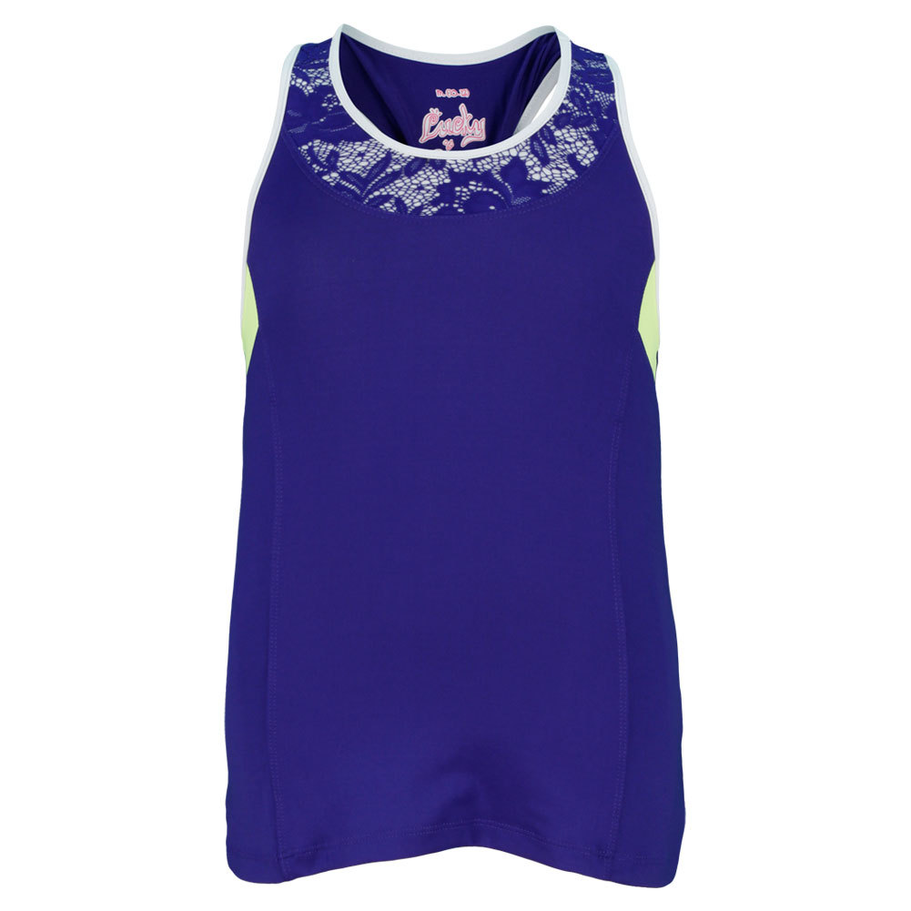 Girls ` Lacey Color Block Tennis Tank Blue