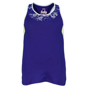 LUCKY IN LOVE GIRLS LACEY COLOR BLOCK TENNIS TANK BLUE
