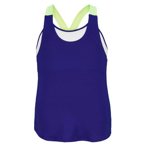 LUCKY IN LOVE GIRLS TENNIS TANK BLUE