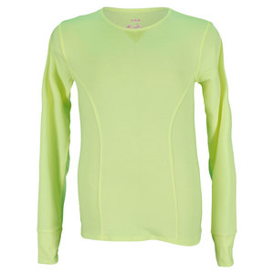 LUCKY IN LOVE GIRLS LONG SLEEVE TENNIS TOP YELLOW