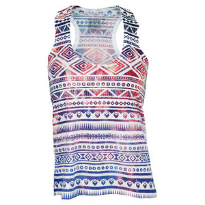 LUCKY IN LOVE WOMENS GALACTIC TENNIS TANK MULTI