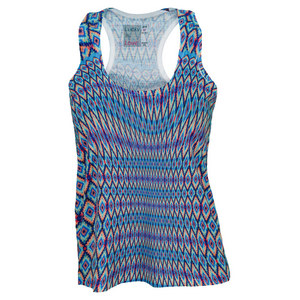 LUCKY IN LOVE WOMENS SERAPE TENNIS TANK MULTI