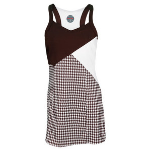 BOLLE WOMENS KAHLUA DRESS HOUNDSTOOTH/COCOA