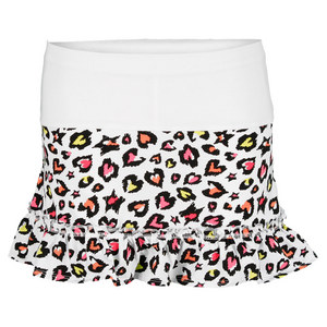 LUCKY IN LOVE GIRLS RAINBOW LEOPARD TENNIS SKIRT PRINT