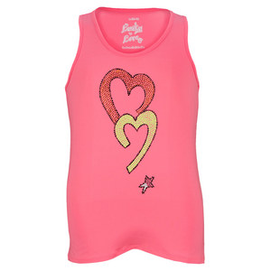 LUCKY IN LOVE GIRLS RHINE STONE TENNIS TANK PINK