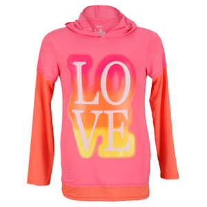 LUCKY IN LOVE GIRLS LOVE SLEEVE TENNIS HOODIE PINK