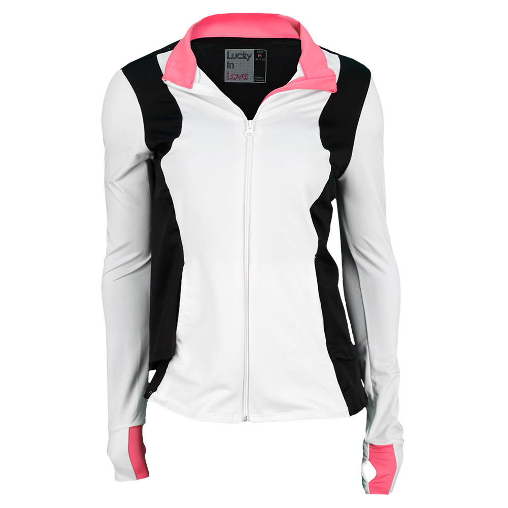 Lucky In Love Women`s Performance French Terry Tennis Jacket White and Black at Sears.com