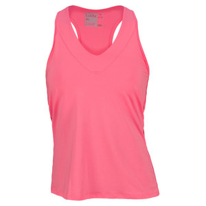 LUCKY IN LOVE WOMENS V NECK TENNIS TANK HOT PINK