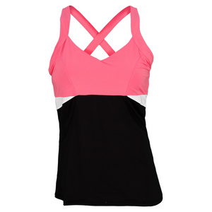 LUCKY IN LOVE WOMENS TENNIS CAMI PINK AND BLACK