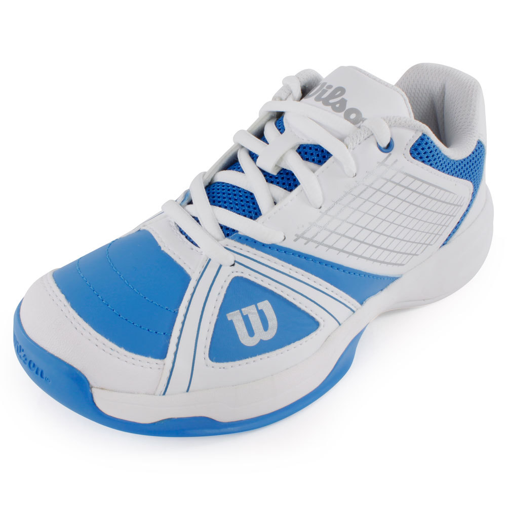 Juniors` NGX Tennis Shoes Blue and White The lightweight Wilson Juniors NGX Tennis Shoe Blue and White is designed to be durable even during the most aggressive play Endofit technology is incorporated to surround your foot in comfort for the ultimate fit and feel