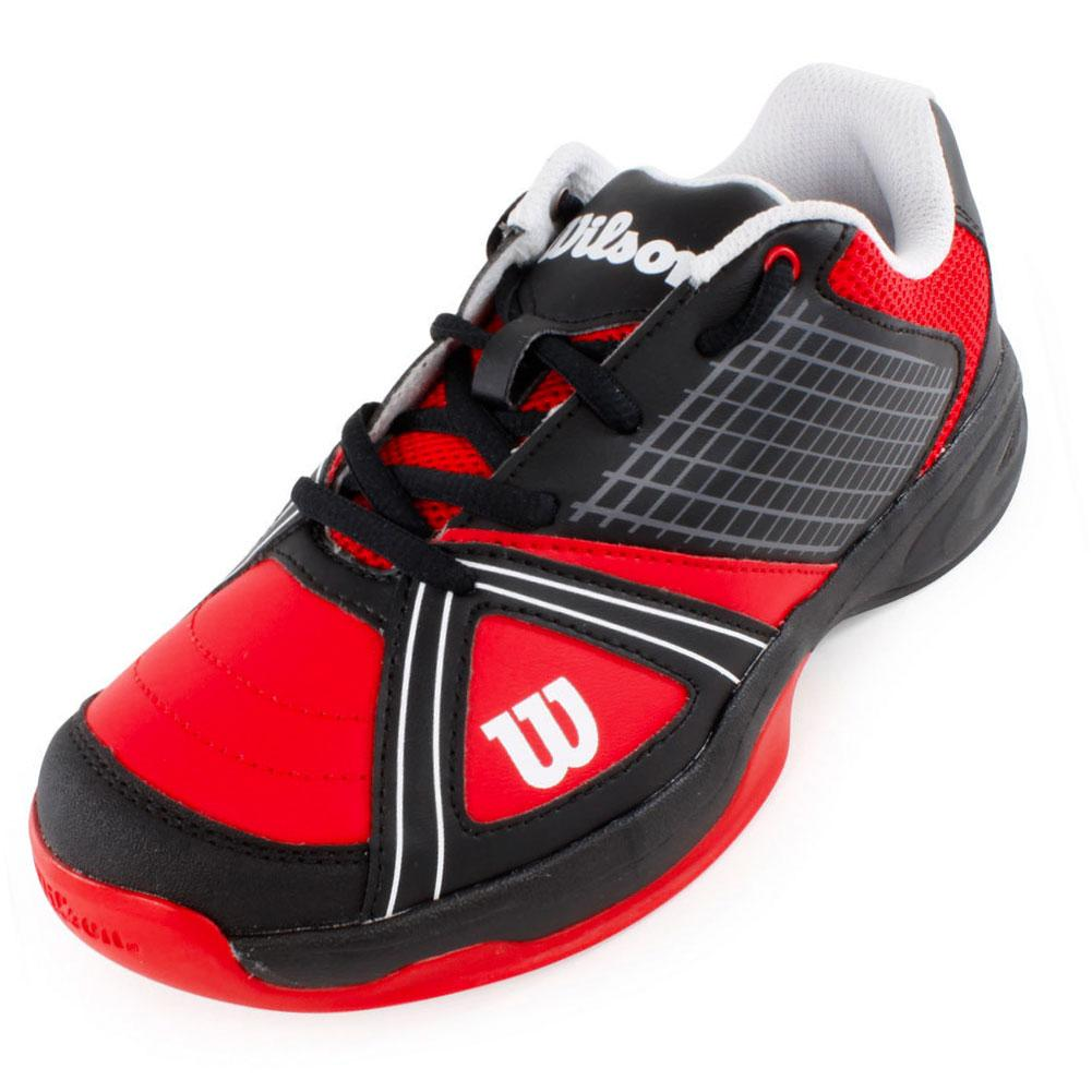 Juniors` NGX Tennis Shoes Red and Black The Wilson Juniors NGX Tennis Shoe Red and Black is ultra lightweight and designed for comfort plus responsiveness even during the most aggressive play