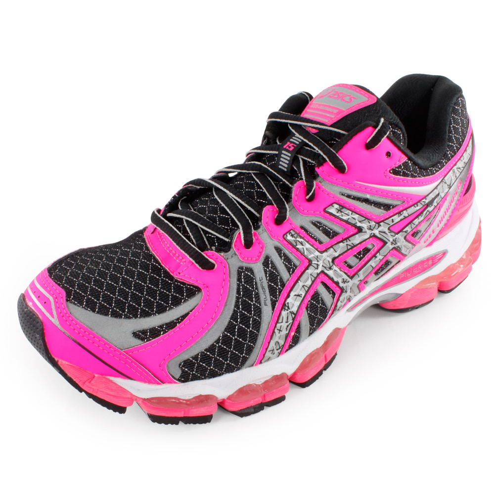 Women`s Gel Nimbus 15 Lite Show Running Shoes Black and Hot Coral