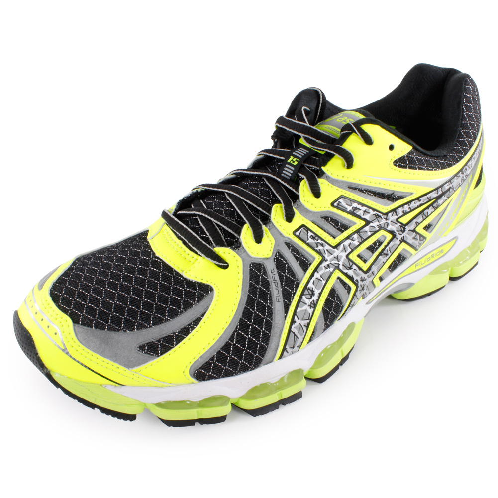 Mens Gel Nimbus 15 Lite Show Running Shoe Black and Flash Yellow