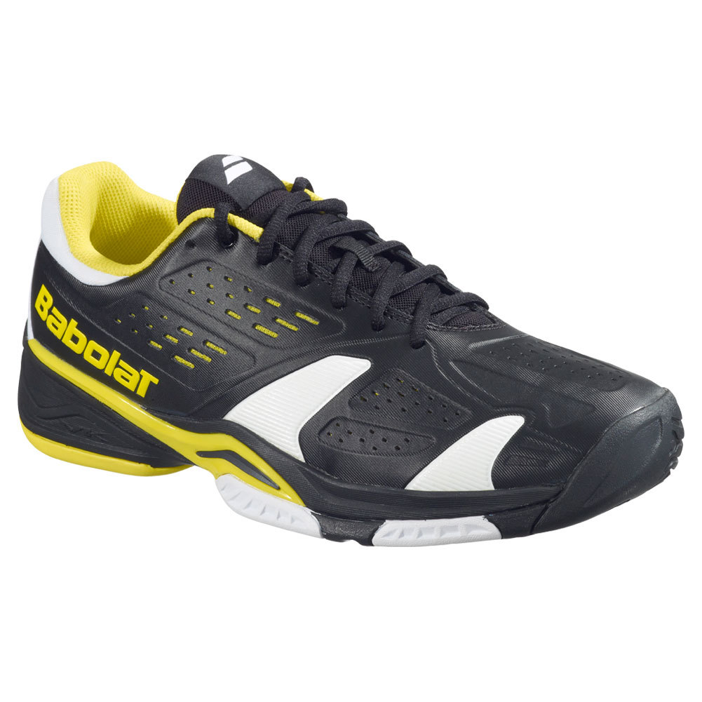 babolat s sfx team all court tennis shoes black and yellow