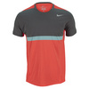 NIKE Men`s Premier Rafa Tennis Crew Light Crimson and Silver