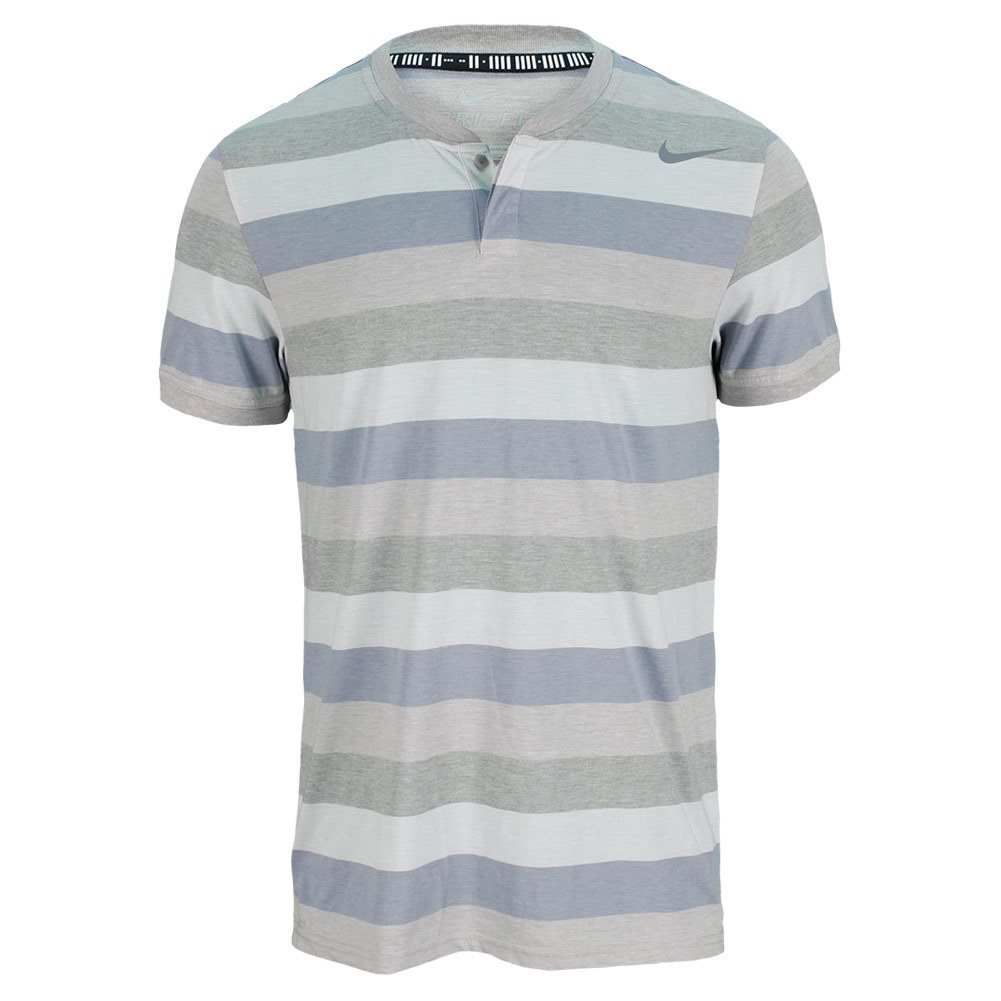 Men`s Dri Fit Touch Stripe Tennis Henley The Nike Mens DriFIT Touch Strip Tennis Henley offers a slimfit DriFIT jersey fabric and ribbed collar and cuffs