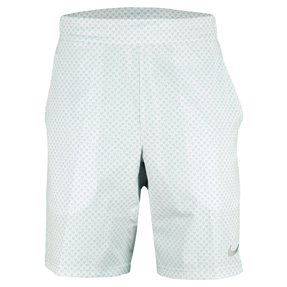 Men`s Gladiator Premier 9 Inch Tennis Short White The Nike Mens Gladiator Premier 9 Inch Short features DriFIT stretch woven fabric with a modern meshlined waistband construction