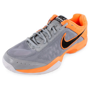 NIKE MENS AIR CAGE COURT SHOES GRAY/ORANGE