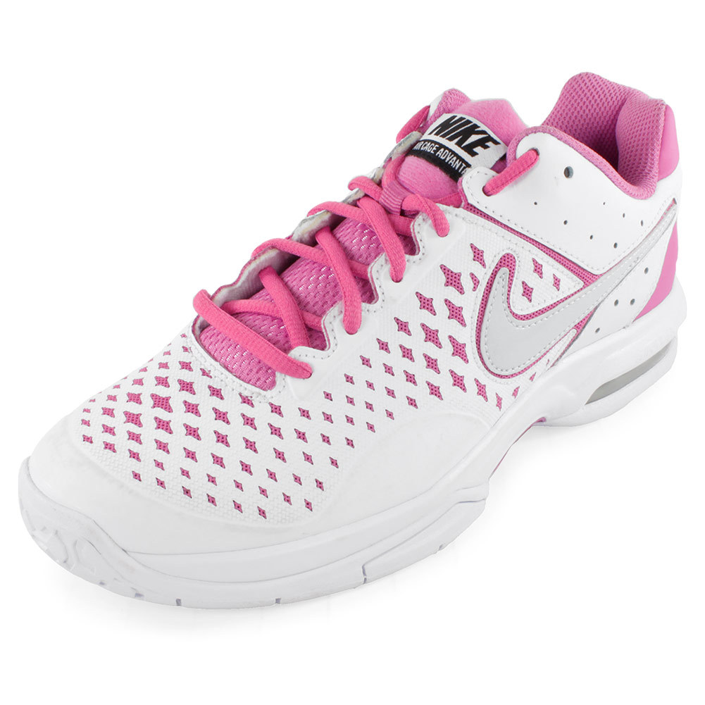 Women's Air Cage Advantage Tennis Shoes White And Red Violet