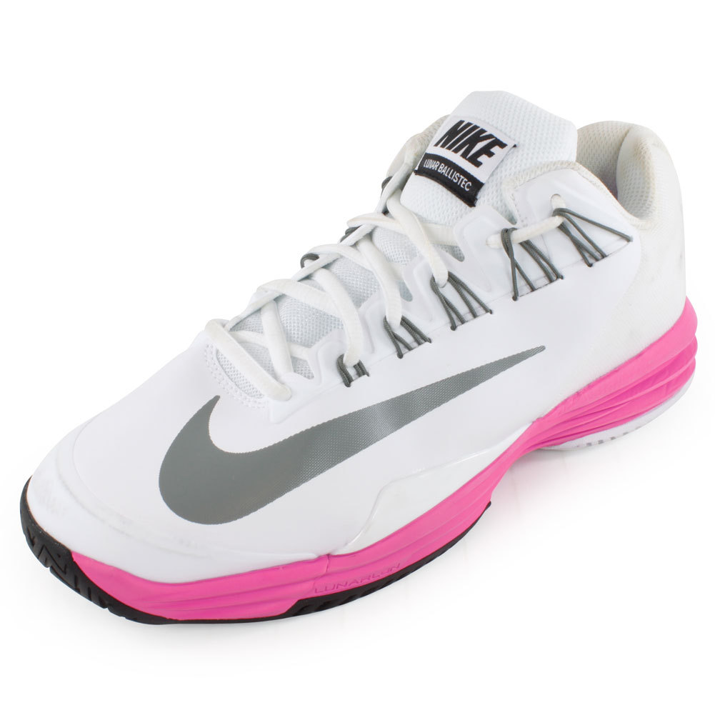 s lunar ballistec tennis shoes white and violet
