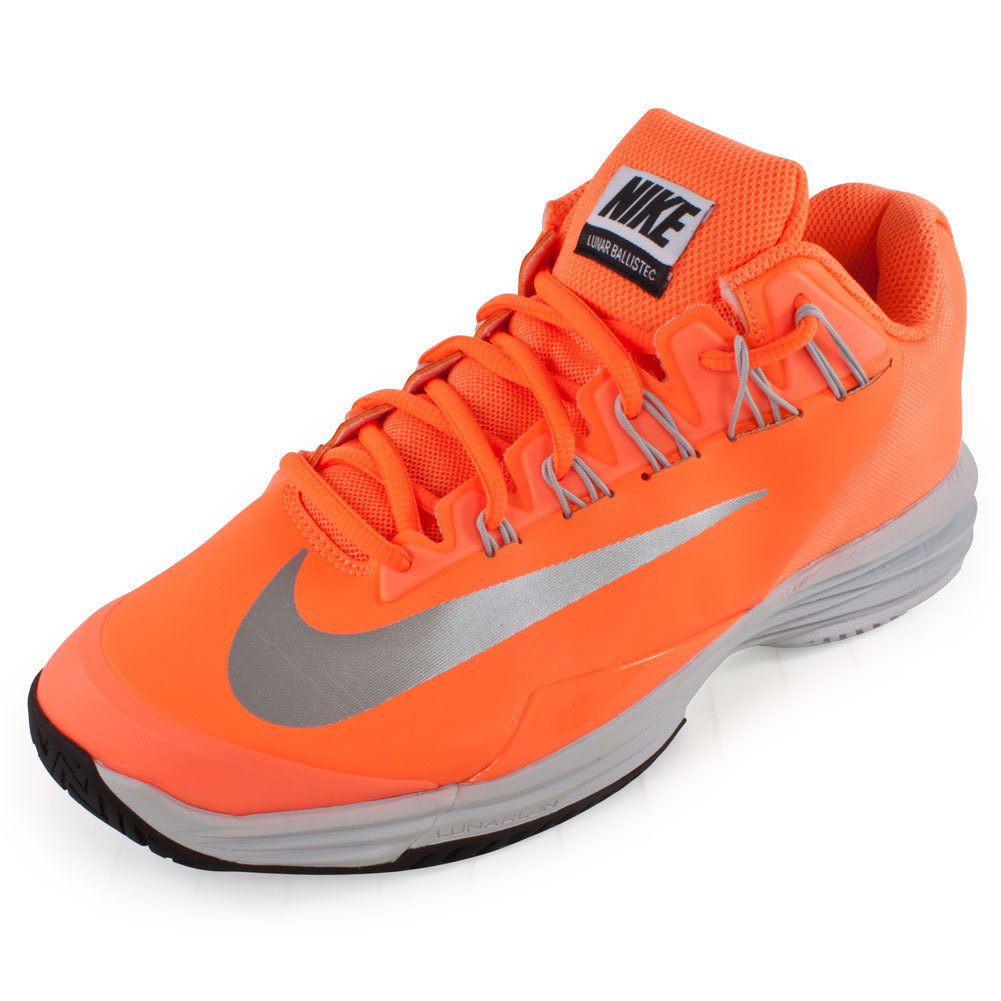 Women`s Lunar Ballistec Tennis Shoes Atomic Orange For a durable shoe thats all about hustle the Nike Womens Lunar Ballistec Tennis Shoes Atomic Orange is a must have for the serious athlete Lightweight and incredibly strong these shoes are built to last bringing you to many Ws on court  Additionally Nike