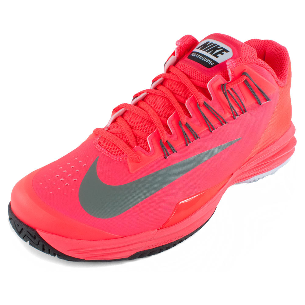 Men`s Lunar Ballistec Tennis Shoes Laser Crimson Rafael Nadals shoes of choice are the Nike Mens Lunar Ballistec Shoes Laser Crimson These lightweight and durable sneakers are the serious players dream Featuring adaptive fit technology and specifically designed to cushion a tennis players foot these are