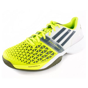 Men`s CC Adizero Feather III Tennis Shoes Solar Slime and White