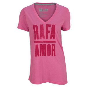 NIKE WOMENS RAFA AMOR TENNIS TEE RED VIOLET