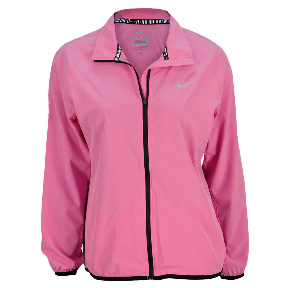 Women's Woven Full Zip Tennis Jacket Red Violet