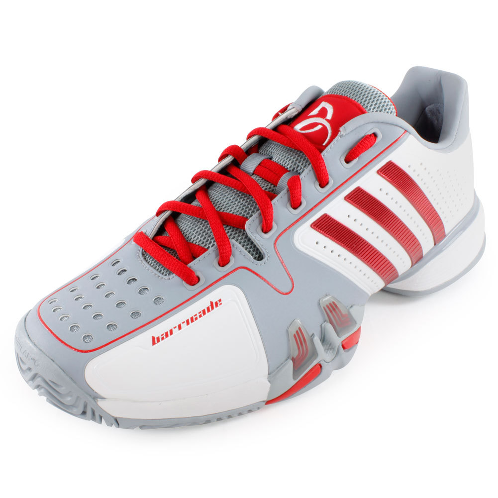 Men`s Adipower Barricade 7 Novak Djokovic Tennis Shoes White and Gray
