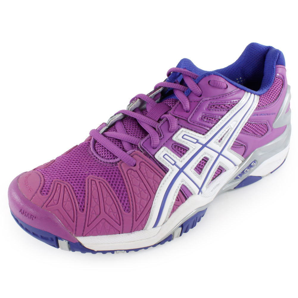 Women's Gel Resolution 5 Tennis Shoes Grape And White