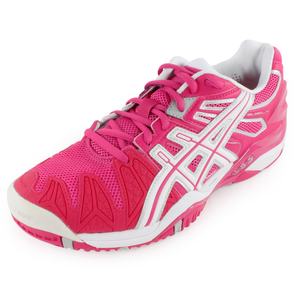 Women's Gel Resolution 5 Tennis Shoes Fuchsia And White