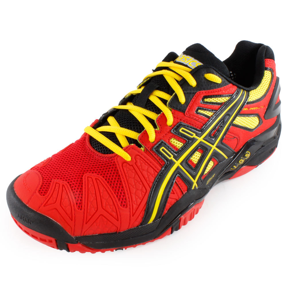 Men's Gel Resolution 5 Tennis Shoes Red And Black