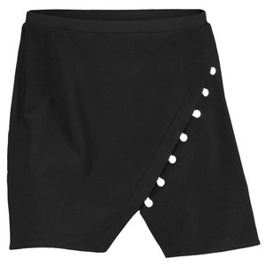 ELIZA AUDLEY WOMENS ANGLE BUTTON TENNIS SKORT BLACK