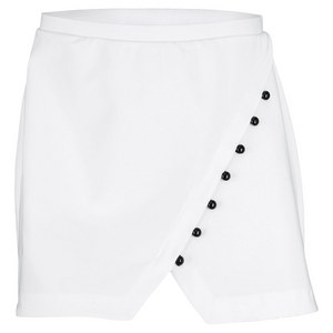ELIZA AUDLEY WOMENS ANGLE BUTTON TENNIS SKORT WHITE
