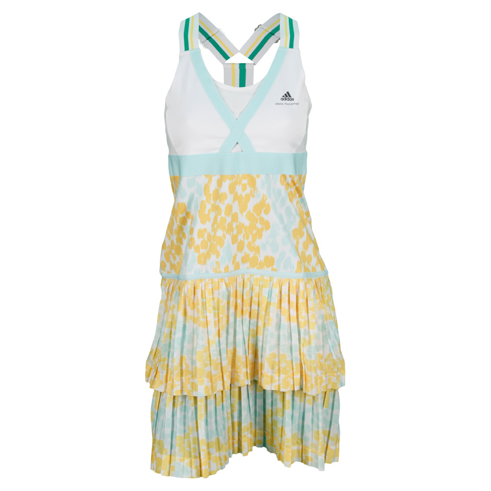 Women`s Stella McCartney Barricade Aussie Tennis Dress White and Universe Gray