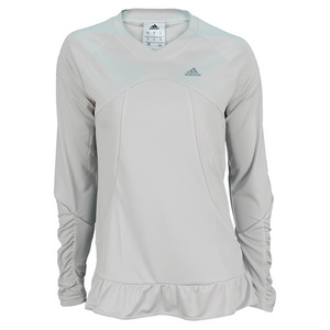 adidas WOMENS FLEUR LONG SLEEVE TEE PEARL GRAY