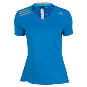 adidas WOMENS CLIMA CHILL TENNIS TEE SOLAR BLUE