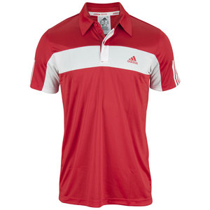 adidas MENS GALAXY POLO LIGHT SCARLET/WHITE