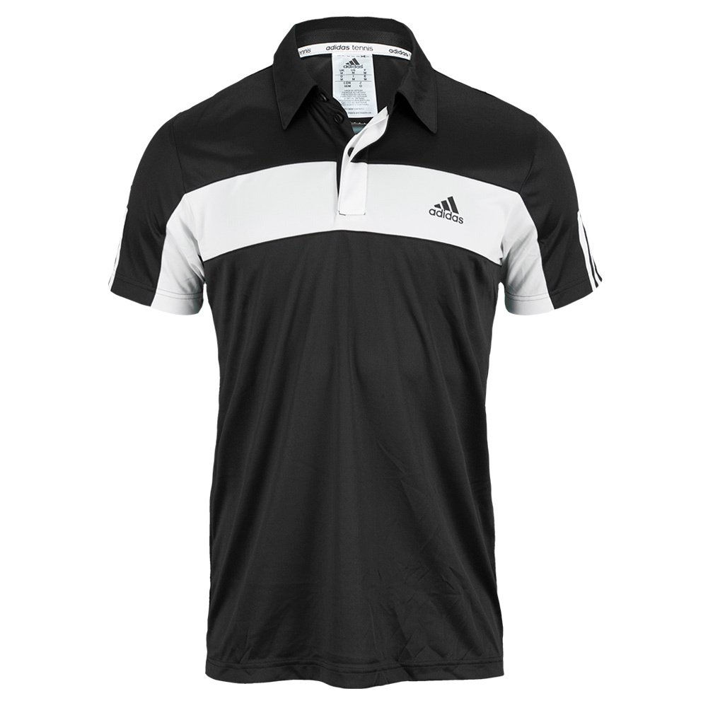 Men`s Galaxy Tennis Polo Black and White