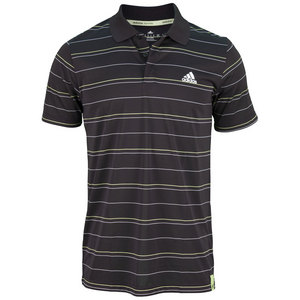 adidas MENS SEQUENCLS STRIPED POLO BK/BAHIA GLO
