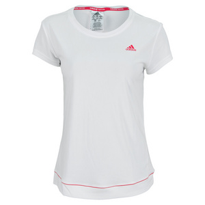 adidas WOMENS GALAXY TENNIS TEE WHITE/VIVID PK