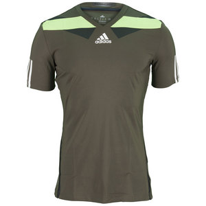 adidas MENS ADIPR BARR SEMI FITTED TEE EARTH GN