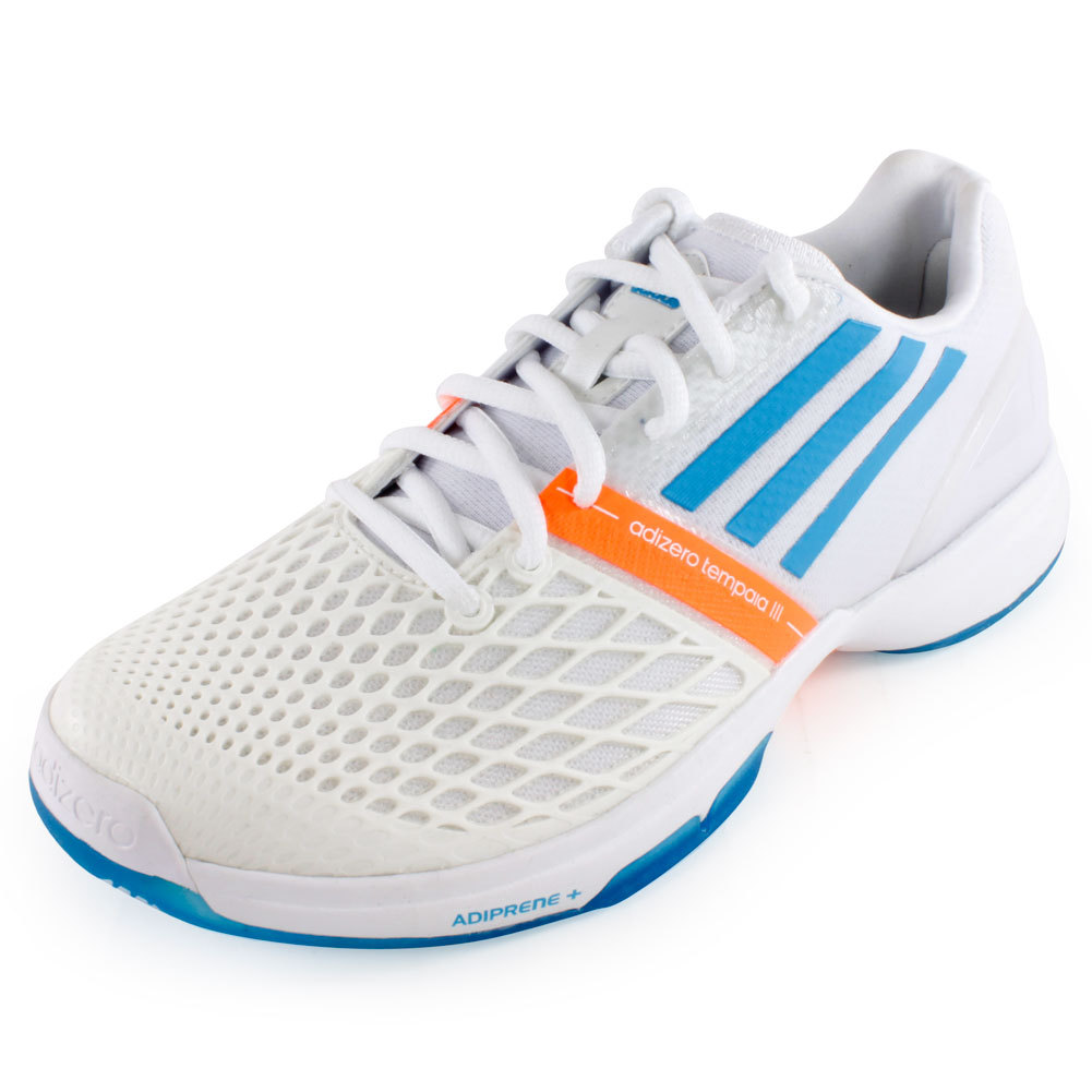 Women`s CC Adizero Tempaia III Tennis Shoes White and Solar Blue