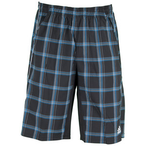 adidas MENS SEQUEN PLAID BERMUDA SHORT BK/BL