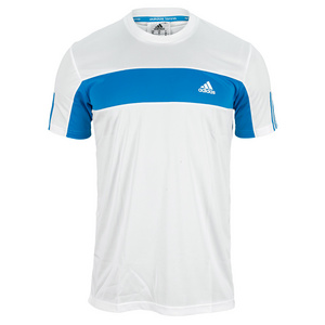 adidas MENS GALAXY TEE WHITE/SOLAR BLUE