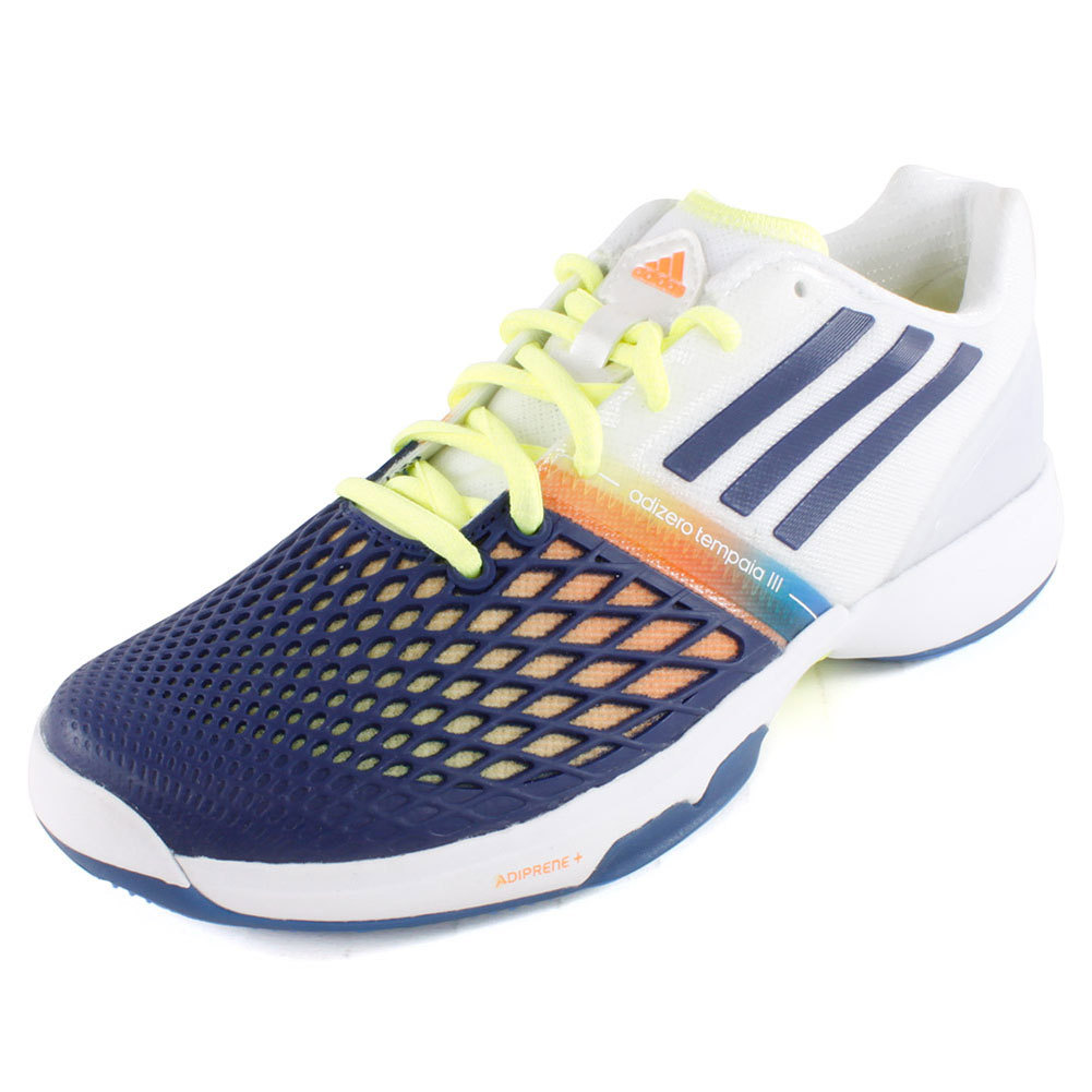 Women's Cc Adizero Tempaia Iii Tennis Shoes White And Night Blue