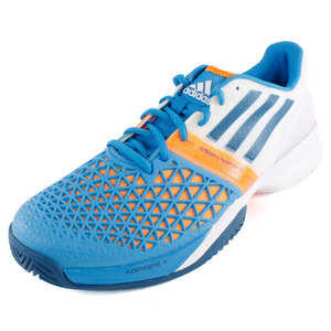Men`s CC Adizero Feather III Tennis Shoes Solar Blue and White