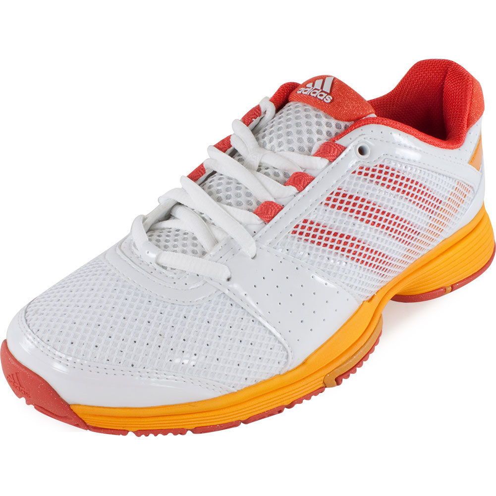 Women's Adipower Barricade Team 3 Tennis Shoes White And Coral