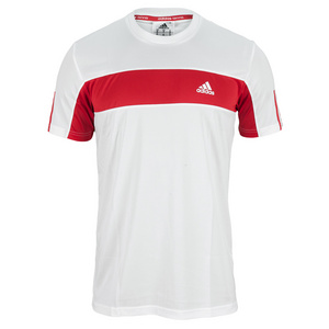 adidas MENS GALAXY TEE WHITE/LIGHT SCARLET